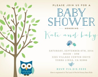 Owl Baby Shower Invitation - 5x7 Printable