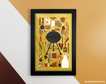Grilling Collection Print • Barbecue Art Poster • Grilling Meats • BBQ Decor • Kitchen Art • Knolling Print • Graphic Design Poster