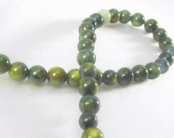36 Olive Green and Moss Forest Green 5mm Mother of Pearl Round Jewelry Beads - half strand