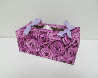 Tissue Box Cover/Rose x Lavender Ribbon