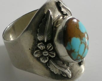 1988 Carol Felley Wide Sterling Silver Feather Turquoise Ring Size 9.5 #0281