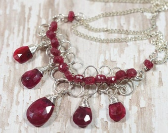Natural Ruby Necklace  Wire Wrapped On Sterling silver wire Gemstone Necklace- Statement Necklace