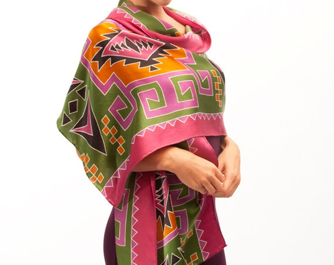 Silk hand painted scarf with colorful tribal pattern