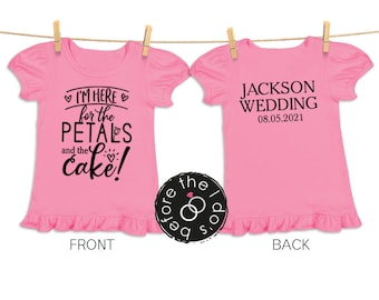 I'm Here ... Petals and Cake Tee {with Wedding Name + Date on Back} for Little Girls /// Flower Shirt, Petal Shirt, Wedding Shirt | #1804