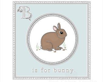 Digital Bunny Illustration - Bunny JPG PNG - Children's Illustration - B is For Bunny - Alphabet Card - Woodland Animal - Nursery Art