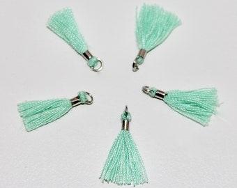 5 x mini Mint green tassels
