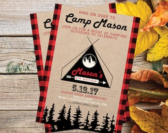 Camping Party Invitation | Camping Birthday Invitation | Campout Invitation | Hike On Over | Red Plaid | Wilderness Birthday | Smore to Come