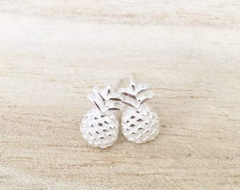 Pineapple studs, sterling silver pineapple studs, pineapple earrings, pineapple jewelry, sterling silver studs, sterling silver earrings