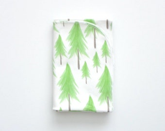 Organic cotton swaddle in watercolor Pine Trees, Hand Painted, Green Tree