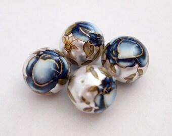 Pearl white blue rose Japanese tensha beads