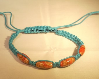 Adjustable wooden beads and turquoise macrame bracelet