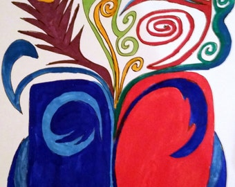 Red and Blue Swirls ORIGINAL INK and WATERCOLOR 11x14
