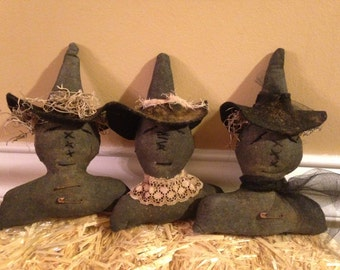 Set of Three Primitive Halloween Black Witches, Handmade Halloween Witch Bowl Fillers, Tucks or Ornaments