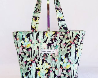 Insulated Lunch Bag / Mothers Day Gift / Insulated Lunch Bag / Cactus Print / Gifts for Her / Lunch Totes / Lunch Bag / Reusable Lunch Bag
