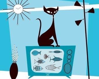 Fish TV Black Cat Giclee Print Cat Lover Cat Wall Art Cat Decor Atomic Cat TV Pet Lover Gift Illustration Original MCM Cat Modern Mod Cat