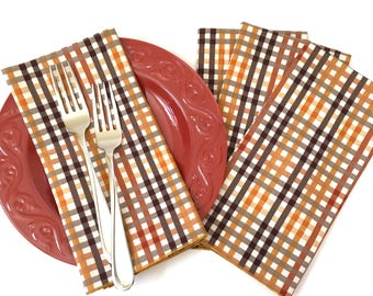 Cloth Napkins - Luncheon Napkins - Plaid Napkins - Autumn Napkins -  Cloth Dinner Napkins - Set of 4  Autumn Napkins - Thanksgiving Napkins
