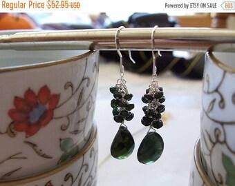 """ON SALE Dark Green Tourmaline Gemstone Faceted Many Multi Dangle Cluster Teardrop Earrings ~ Sterling Silver ~ 1.8"""" Length"""