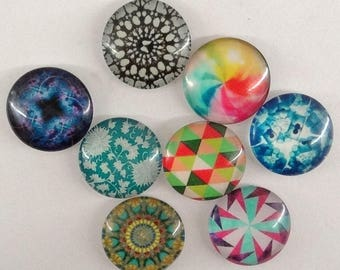 Set of 6 cabochons circle diameter 18 mm glass cab216 abstract patterns