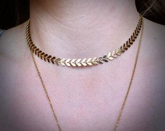 Chevron Choker Necklace, Fish-bone Choker Necklace, Gold Choker