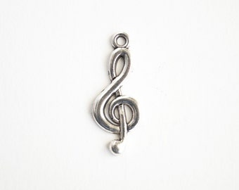 Silver Music Charms, Treble Clef Charms  - 10 pieces (157SF)