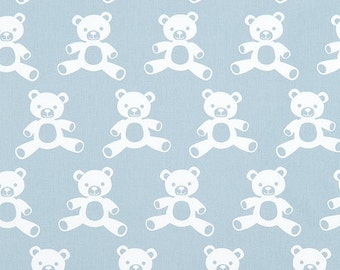 Teddy Bear Canvas Fabric - Weathered Blue / White Twill - Sold by the 1/2 Yard