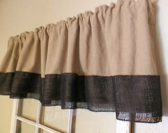 "Burlap Natural Valance with Black Burlap Trim 16""x 72"""
