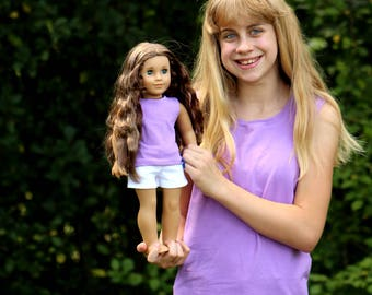SIZE 12 - Fits like American Girl Doll Clothes - Matching Girl and Doll Clothes - Size 12 Lilac Tank Tops