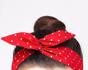 Red Polka Dot Wire Headband. Cherry Red Twist Scarf. Vintage Dolly Bow Headwrap. Retro Bandana. Rosie The Riveter Headband.