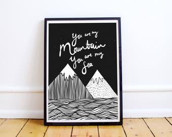 BIFFY CLYRO Mountains A4 Illustration Print