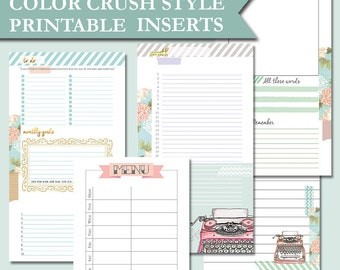 Color Crush Style planner inserts Filofax personal size printable pages notes meal planner monthly spread webster's pages kikki k medium