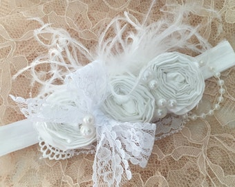 White rosette headband, couture headband, over the top bow, baby headband, baptism headband, christening headband, newborn headband