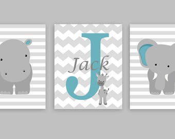 Zoo Nursery Art, Monogram Print, Baby Name Print, Turquoise and Grey, Zoo Nursery Decor, Gender Neutral, Kids Bedroom Decor, Baby Canvas Art