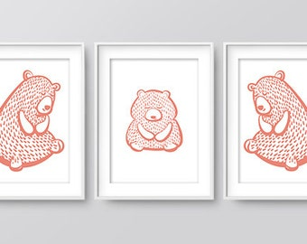 Nursery Bear Family Print (Coral), Wall Prints, Nursery Art, Home Print, Downloadable Print, Woodland Nursery, Nursery Print, Digital Art