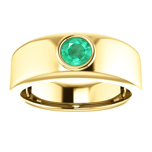Emerald Bezel Set Men s Ring Emerald Men s Yellow