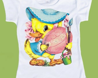 Easter Duck, Coloring eggs, duckling Painting Eggs, Girls clothes, boys clothes, retro graphic tees, by ChiTownBoutique