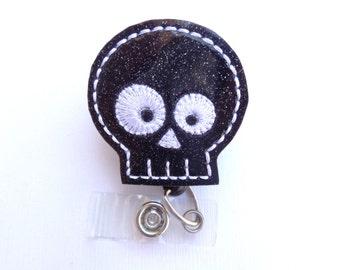 Retractable Badge Holder - Skully - black glitter vinyl skull badge reel - Halloween medical staff nurse badge reel radiologist