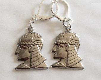 Nubian slave earrings Pharaoh Egyptian Egypt handmade silver tone for pierced ears nickel free