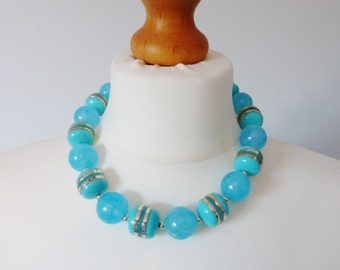 Vintage Aqua Lucite Necklace
