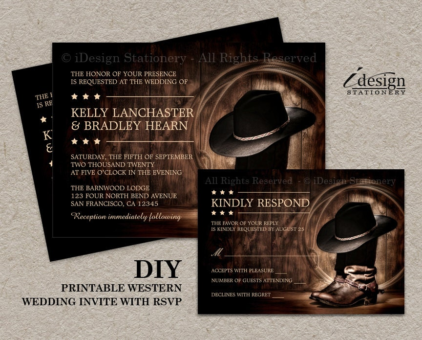 Country Western Wedding Invitation Set With Cowboy Boots DIY - Wedding invitation templates: western wedding invitations templates