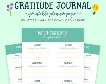 Gratitude Journal, Printable Worksheet, Happiness Planner, Self Help, Gratitude Printable, Mindfulness, Printable Planner, Self Care