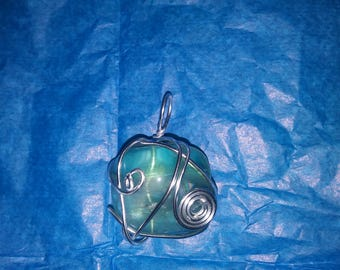 Green Wire Wrapped Necklace