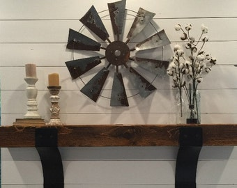 Metal Windmill  farmhouse decor 30 inch round rustic -windmill blades- wall art- vintage-rusty- gift- home decor-home accessories- fan blade