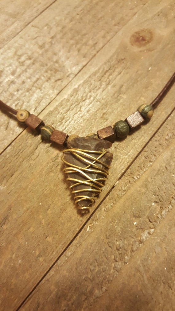 Handmade Arrowhead Necklace On Leather Wrap With Beads Unique Arrow Head Native American Copper Wrapped Collection