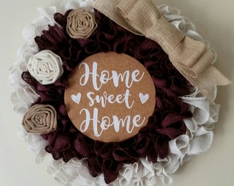 Shabby chic wreath,wreath , burlap wreath, home sweet home wreath