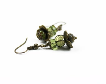 Vintage Style Green Floral Earrings, Rose Czech Glass with Hand Colored Brass