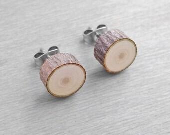 Écorce de tranche de bois boucles d'oreilles - bois Faux Plug Fake Gauge boucles d'oreilles - Boucles d'oreilles acier chirurgical