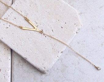 Y necklace, delicate necklace, lariat necklace, gift for her, bridesmaids gift, y necklace, unique necklace, white zircon
