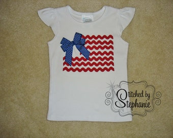 Baby and Toddler Girls Embroidered Personalized Monogrammed Patriotic Fourth 4th of July Ric Rac and Bow Flag with name flutter sleeve shirt