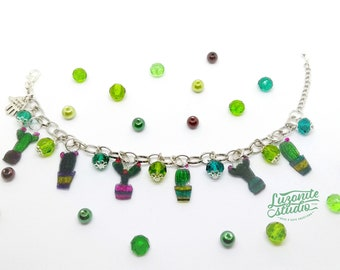 Retractable Plastic handmade cactus bracelet, cactus bracelet in shrink plastic pots with glitter green