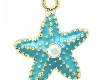 2 Starfish Charms, Gold Plated Enamel with A/B  Rhinestone (1G-244)